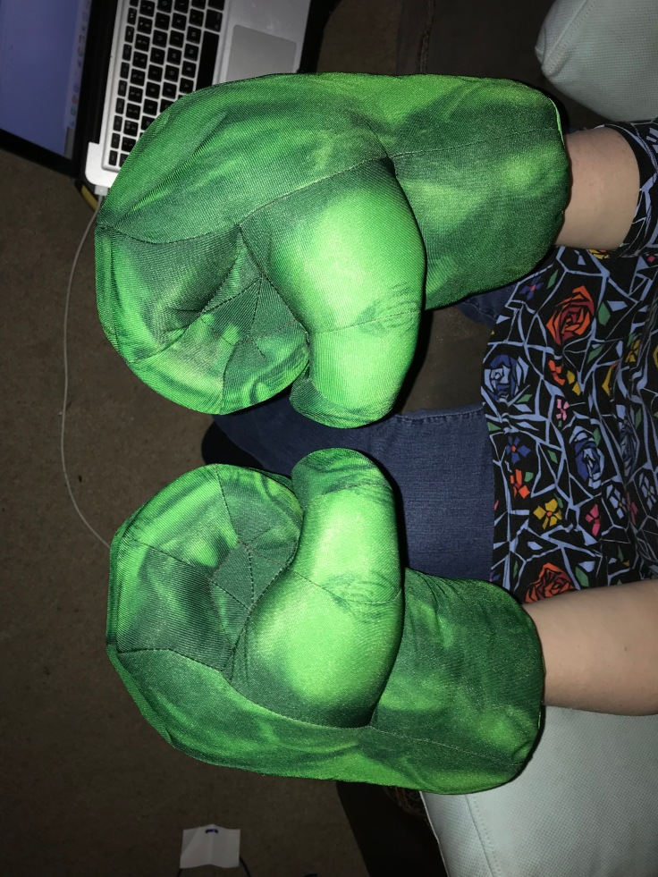 Dress up Hulk hands.