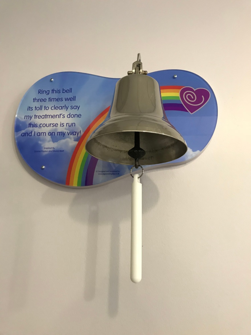 Wall mounted bell that patients ring at the end of their course of radiotherapy